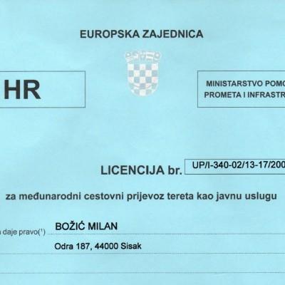 licenca za međunarodni cestovni prijevoz
